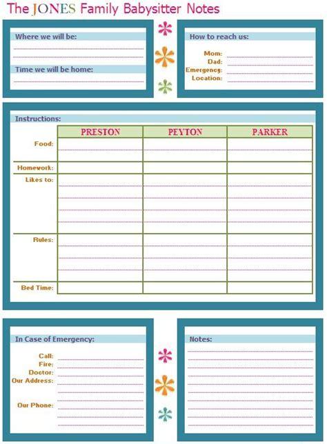 printable babysitter instructions iheart organizing kids babysitter buddy printable