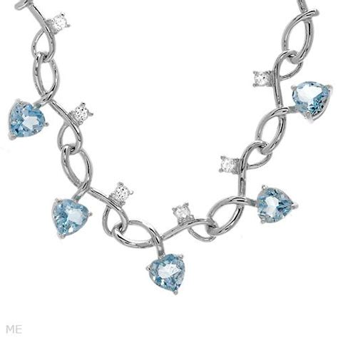 Masi Silver Jewelry by 9 0ctw White Blue Topaz 925 Sterling Silver 20