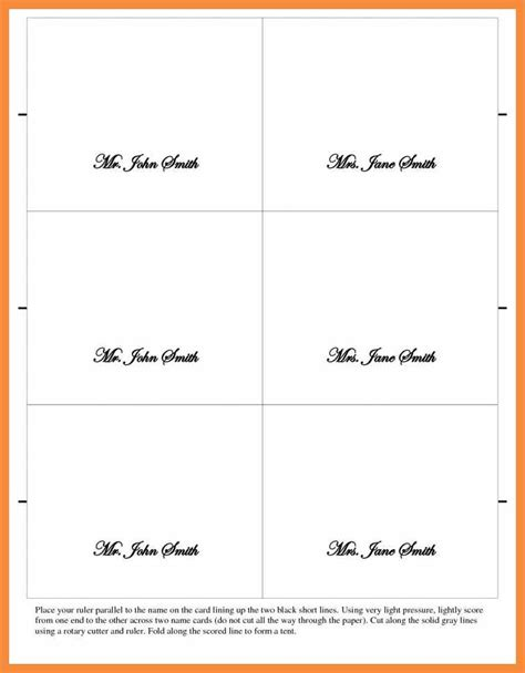 6 Card Template by 5 6 Place Cards Template Bioexles
