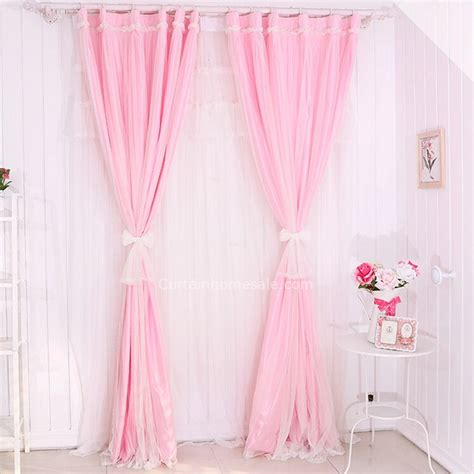 pink tulle curtains faux silk and tulle pink color romantic kids curtain