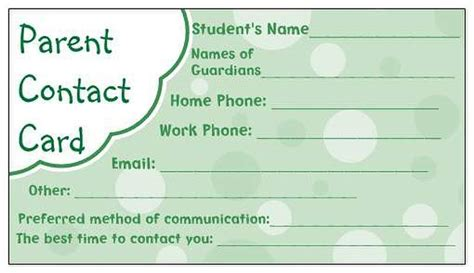 parent contact info card template 17 best images about preschool forms on lesson