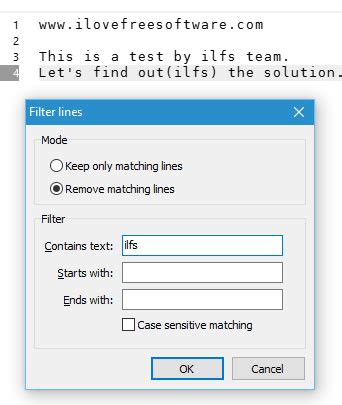 using filter text to match specific events step 4 how to delete only those lines that contain specific text
