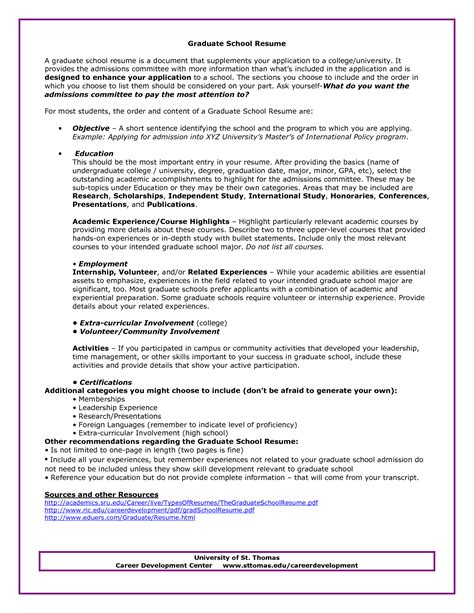 Resume For Grad School by Graduate School Admissions Resume Sle Http Www
