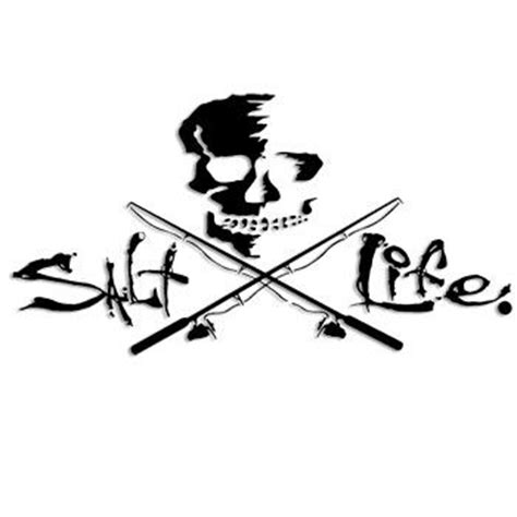 black 12 quot salt life signature skull amp poles decal