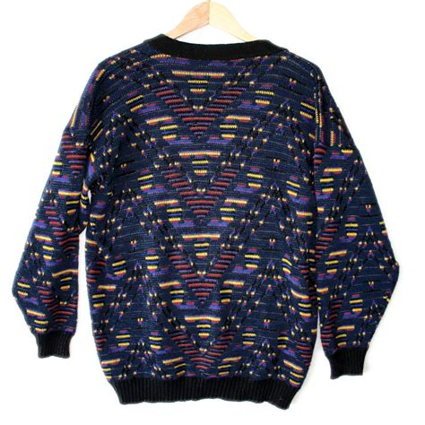 Sweater Tribal vintage 80s aztec tribal cosby cardigan sweater the sweater shop