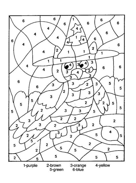 fall coloring pages color by number owl color by number coloring picture color by number