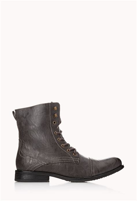 mens combat boots forever 21 forever 21 distressed combat boots in brown for lyst