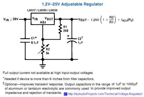 alimentatore lm317 1 2 to 25v adjustable voltage regulator schematic for