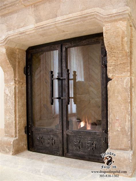 Fireplace Doors Custom by Custom Fireplace Doors With Crusaders Cross Theme