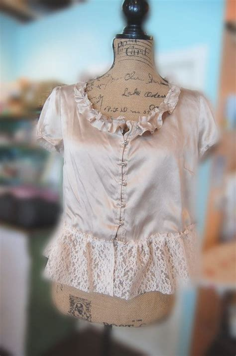 Boho Style Home Decor by Upcycled Clothing Cappuccino Silk Blouse Vintage Style