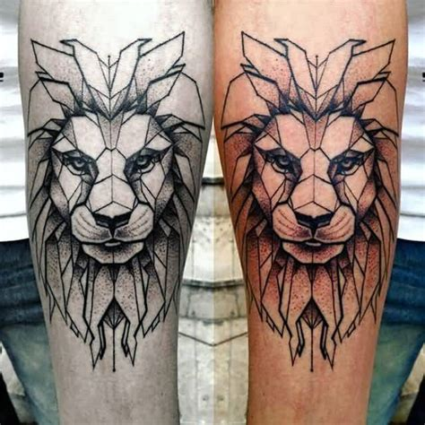 tattoo geometric lion amazing black and white and nice geometric artistic lion