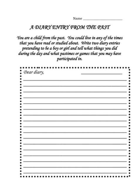 diary writing template ks1 diary entry from the past and by dmk1969