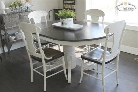 Painting Kitchen Table Farmhouse Style Painted Kitchen Table And Chairs Makeover What Knows