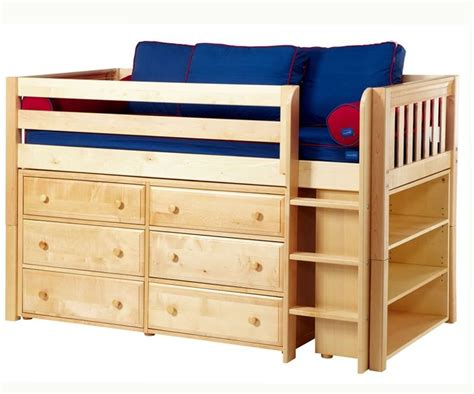 loft bed with bookcase maxtrix low loft bed w dresser bookcase bed frames