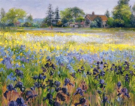 Tree Duvet Cover Irises And Two Fir Trees Painting By Timothy Easton