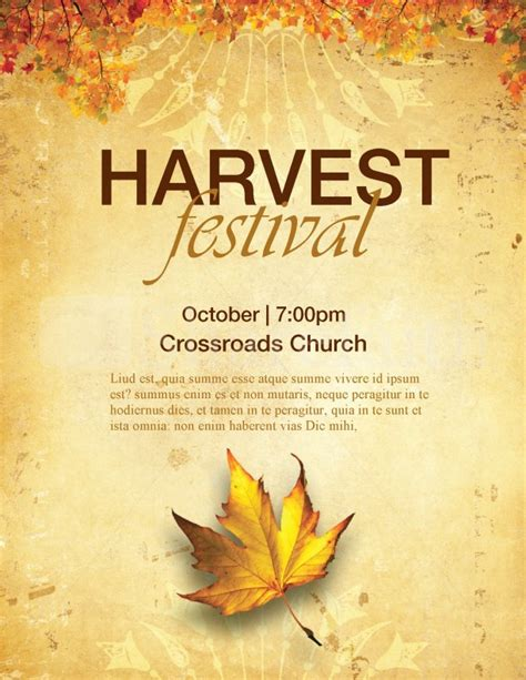 Harvest Festival Flyer Free Template Church Harvest Festival Flyers Template Flyer Templates