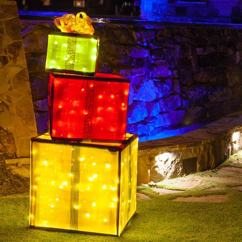 diy lighted outdoor decorations diy decorations 4 lighted gift boxes