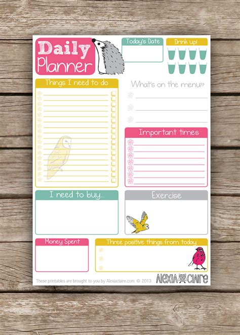 printable daily planner daily planner cute hand drawn animal illustrated to do
