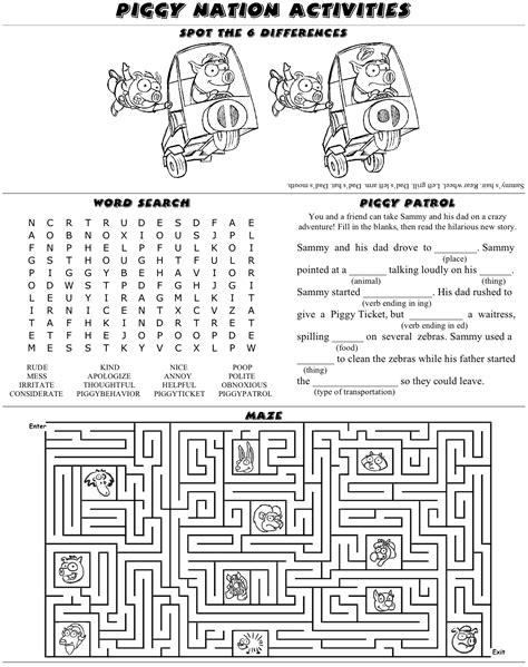 pages activity activity sheet 187 piggy nation