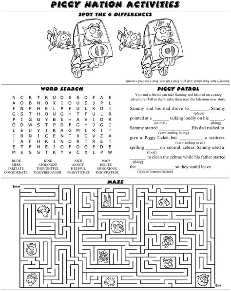 Activity Sheet » Piggy Nation