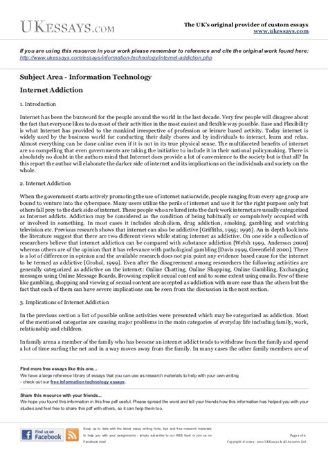 Essays About by Information Technology Essays Addiction