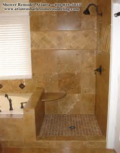 Remodeling Bathroom Shower Ideas Shower Travertine Seat