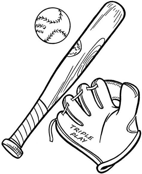 coloring page of a baseball bat baseball bat and glove drawing clipart best