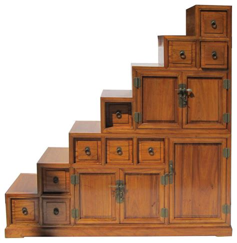 stair step storage cabinet oriental japanese style step tansu cabinet asian china