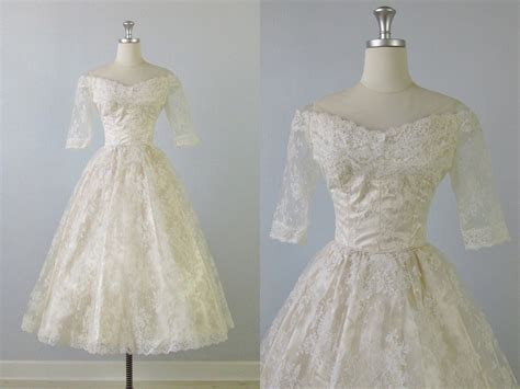 1950s dress 50s lace dress wedding dress alamondine 1950s wedding dress 50s tea length wedding dress pearl