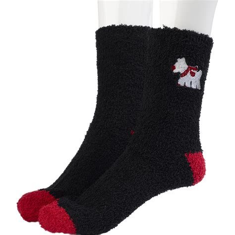 bed socks ladies scottie dog fluffy bedsocks soft coral fleece
