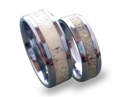 tungsten wedding ring set antler ring set tungsten