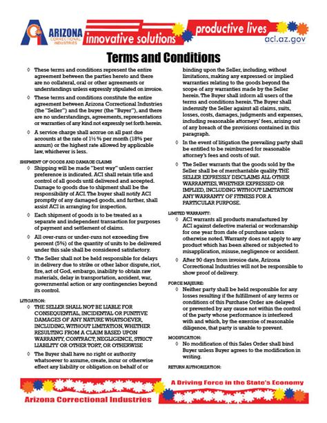 terms conditions aci
