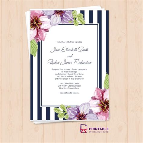 Retro Stripes Floral Wedding Invitation Template Wedding Floral Wedding Invitation Template