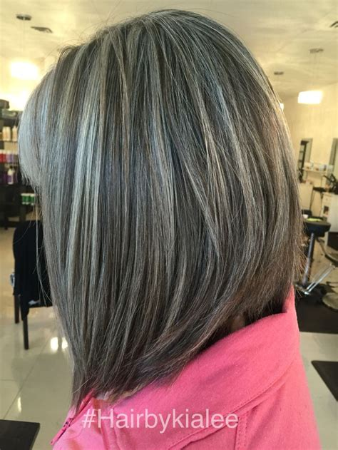 salt pepper hair with blonde streaks ideas natural grey with high and lowlights hairbykialee