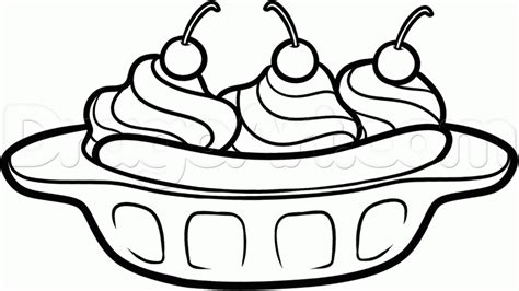 How To Draw A Banana Split Step By Step Food Pop Banana Split Coloring Page