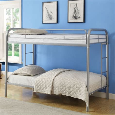thomas twin bed acme furniture thomas twin over twin bunk bed in silver