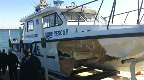 public boat r north brisbane one injured and boat smashed when it hits whale off