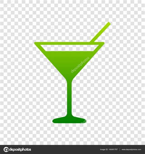 martini transparent background cocktail sign illustration vector green gradient icon on