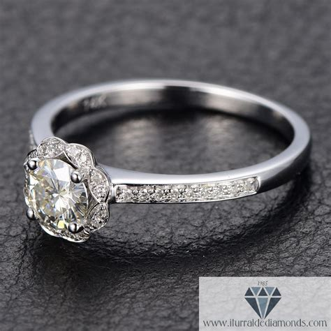 floral style moissanite solitaire engagement ring pave