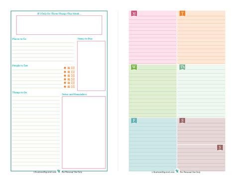 Printable Planner For Mini Binder | half size planner printables mini binder binder and