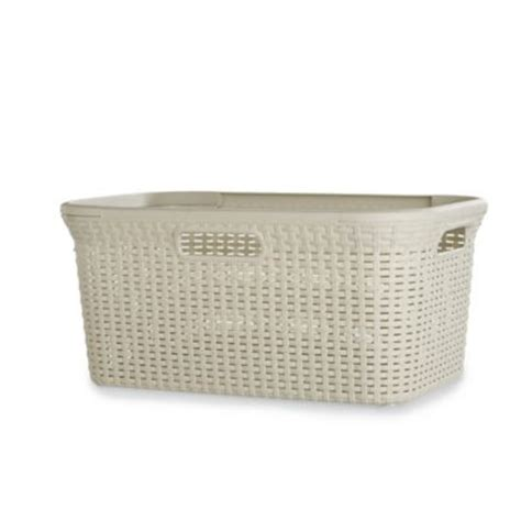 laundry uk curver faux rattan laundry washing basket 45l