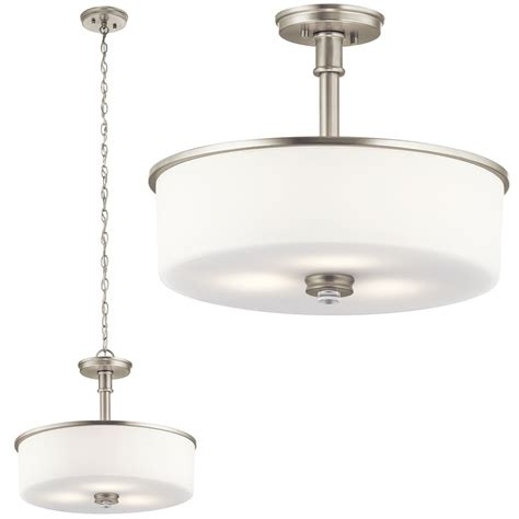 polished nickel light fixtures kichler 43925ni joelson brushed nickel pendant light