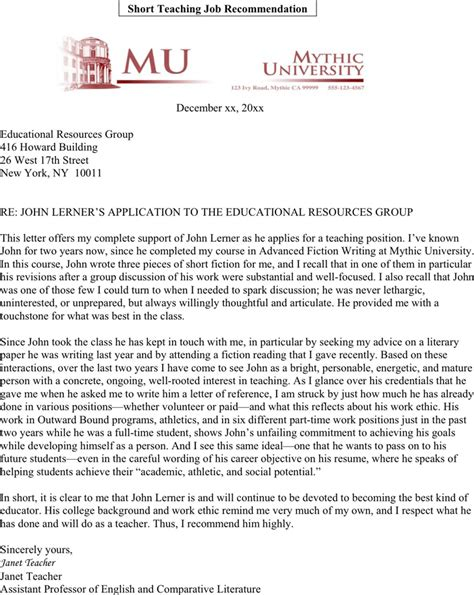 Letter Of Recommendation York sle letter of recommendation for teaching