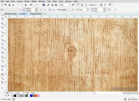 pattern wood corel draw coreldraw tutorial carved engraved text effect galih