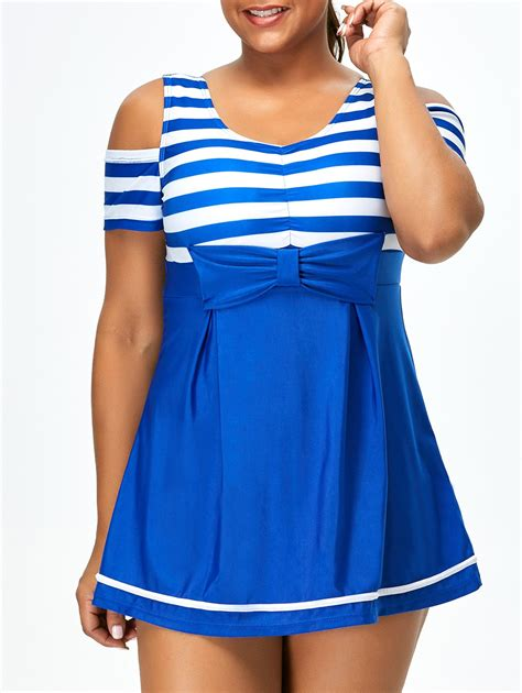cold shoulder striped plus size one swimwear in