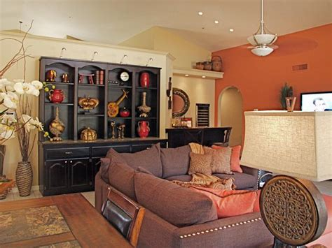 orange and brown living room orange and brown great room hgtv