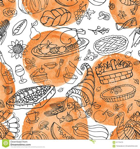 free doodle vector pattern thanksgiving day doodle seamless pattern stock vector