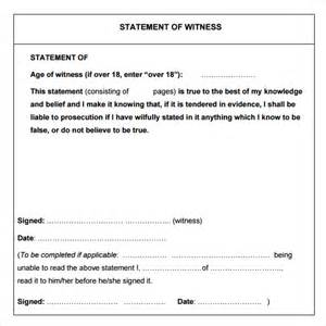 Witness Statement Template by Sle Witness Statement 8 Documents In Pdf Word