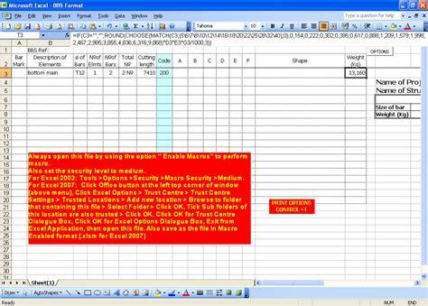 bar schedule template bar bending schedule format excel autos post