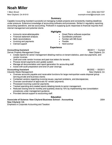 resume format for experienced assistant accountant best accounting assistant resume exle livecareer